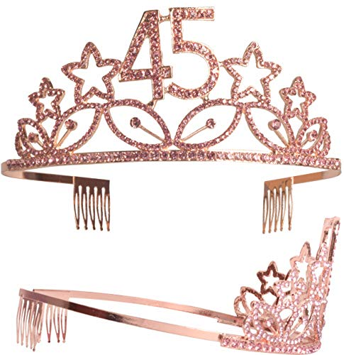 45th Birthday Tiara and Sash, Happy 45th Birthday Party Supplies, 45 &  Fabulous Black Glitter Satin Sash and Crystal Tiara Birthday Crown for 45th
