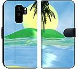 Luxlady Samsung Galaxy S9 Plus Flip Fabric Wallet Case Solar Island with a Palm Tree in The Huge Dark Blue sea Image ID 2842537