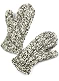 TCG Women's Hand Knit Wool Mittens - Taupe & Cream