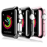 [3 Pack] L K Case for Apple Watch 42mm Series 2 3 with Built-in TPU Screen Protector iWatch All Around Protective Case HD Clear Slim Thin TPU Cover (Clear, Black, Rose Gold)