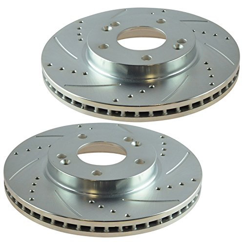 Performance Disc Brake Rotor Drilled & Slotted Front Zinc Coated Pair ()
