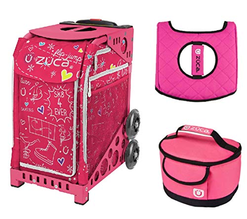 - Zuca Sport Bag - Sk8 Pink with Gift Hot Pink/Black Seat Cover and Pink Lunchbox(Pink Frame)