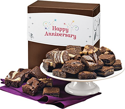 Fairytale Brownies Anniversary Magic Morsel 24 Gourmet Food Gift Basket Chocolate Box - 1.5 Inch x 1.5 Inch Bite-Size Brownies - 24 Pieces