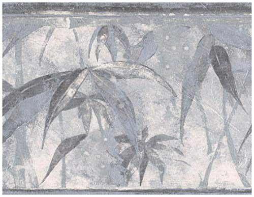 Wallpaper Border - Tropical Plants Distressed Grey Wall Border Retro Design, Prepasted Roll 15 ft. x 7 in.