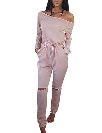 Yidarton Combinaison Femme Pantalon Manche Longue Sexy Col Bateau Casual Epaule  Dénudée Jumpsuit Romper (XL d18826ba1e3b
