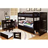 Discovery World Furniture Twin over Twin Staircase Bunk Bed with Twin Trundle, Espresso