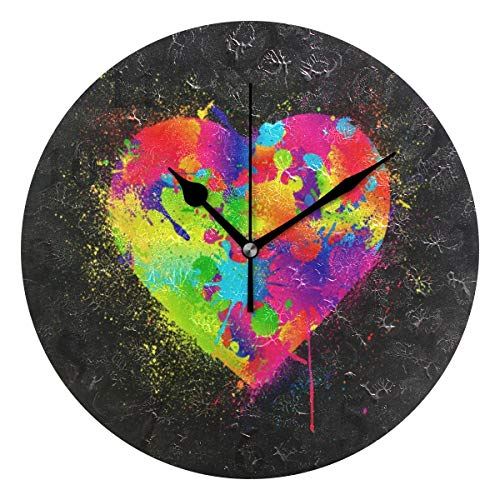 Wall Clock Love You Valentines Day Heart Hippie Silent Non Ticking Decorative Round Digital Clocks Indoor Outdoor Kitchen Bedroom Living Room