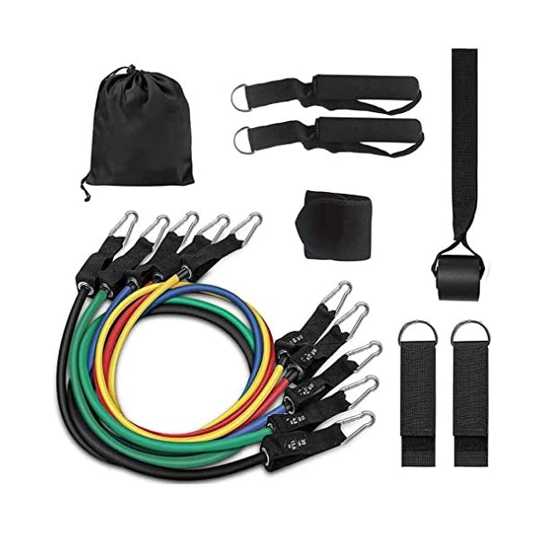 RNSSEZ-12PCS-Resistance-Bands-Set-Exercise-Bands-with-HandlesTraining-Tubes-with-Door-Anchor-Ankle-StrapsWrist-Guard-for-Resistance-Training-Home-WorkoutsPhysical-TherapyGym-TrainingYoga