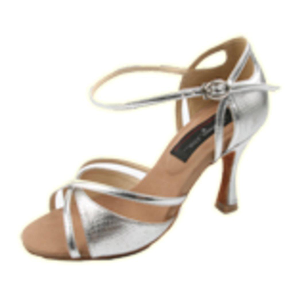 Stephanie Silver Leather Latin Ballroom Dance Shoe E205 Size 5.5