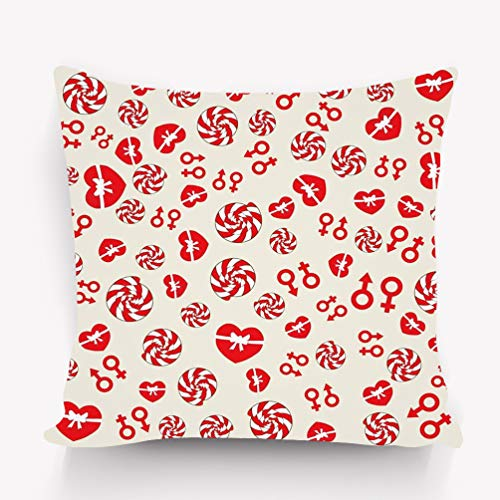 Melvin L Throw Pillow Cushion Cover red Heart Candy Pattern Valentine s Day Love Romantic Design can be Used Wallpaper Cover Fills Decorative Square Accent Pillow Case 18 X 18 inches -