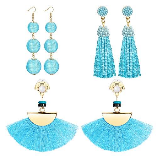 LOLIAS 3 Pairs Long Thread Tassel Earrings for Women Girls Fashion Dangle Drop Earrings (D:3 Pairs blue)