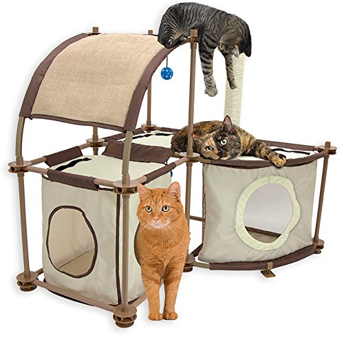 Kitty City 2 Hideaway Sections and Rounded Top with Toy Cat Condo Duplex in Tan Measures 32.5