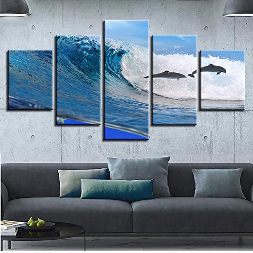 YXAZXR Printing Wall Poster Picture Decor Art 5 Pieces Dolphins Leaping and Beautiful Sea Waves Flower Seascape Modular Canvas Painting