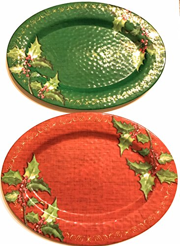 - Christmas Serving Platters Set of 2 Oval Serving Trays - Beautiful and Durable - LIMITED INVENTORY
