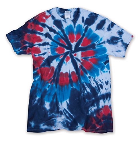 USA Americus Red White Blue Cut Spiral Unisex Adult Tie Dye T-Shirt Tee