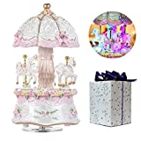 DS-Space Carousel Music Box Luxury Color Change LED Light Luminous Rotating 3-horse Carousel Horse Music Box Melody Carrying You from Castle in the Sky(Castle in the Sky, White)