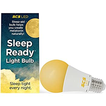 SCS Lighting Sleep-Ready Light. Sleep Better, Naturally! 7 watt LED AMBER Bulb. Supports healthy sleep patterns, Promotes Natural Melatonin Production with Ambient Low Blue Night Light.