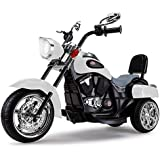 Rovo Kids Electric Ride on Harley Style Motorcycle, White