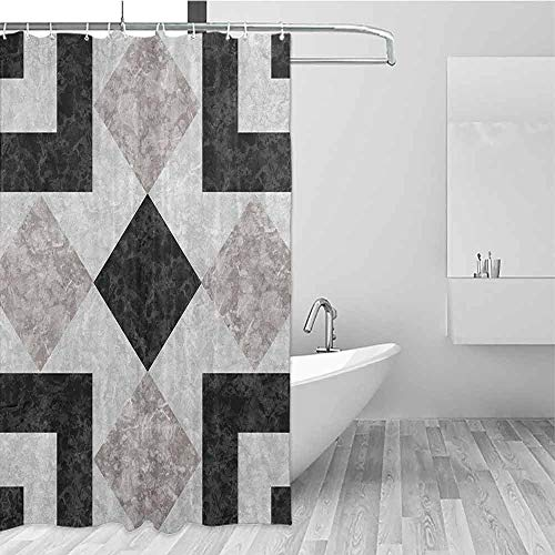 SONGDAYONE Home Shower Curtain Marble Nostalgic Marble Stone Mosaic Regular Design with Alluring Elements Artwork Print Daily use Black Beige W60 xL72