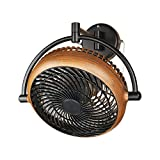 Parrot Uncle Industrial Wall Mount Fan 8 Inches Wall Mount Ceiling Fan with Pull Chain Control 2-Speed Adjustable Motor Direction, UL Listed, Black/Walnut Finished