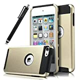 iPod Touch 6 Case, iPod Touch 5 Case,Lantier iTouch 6 Case iTouch 5 Case Hybrid Dual Layer Shockproof Case for Apple iPod Touch 6 / iPod Touch 5 6th Generation with Stylus (Gold/Black)