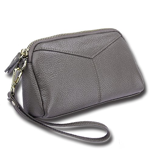 Leather Wallet with Wrist Strap Large Capacity Wristlets Clutch Bag Cell Phone Card holder Organizer Pouch (Silver Gray) ()