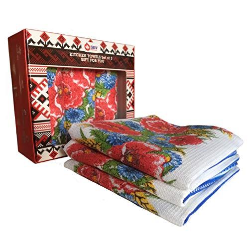 SAV Embroidered Ukrainian Print Kitchen Dish Towels Set Vintage Design Decor Easter Pack Super Absorbent 100% Natural Cotton Waffle Wave (Size: 29 x 14 inches) (Gift Set of 3, Blue Poppy) (Vintage Plates Poppy)