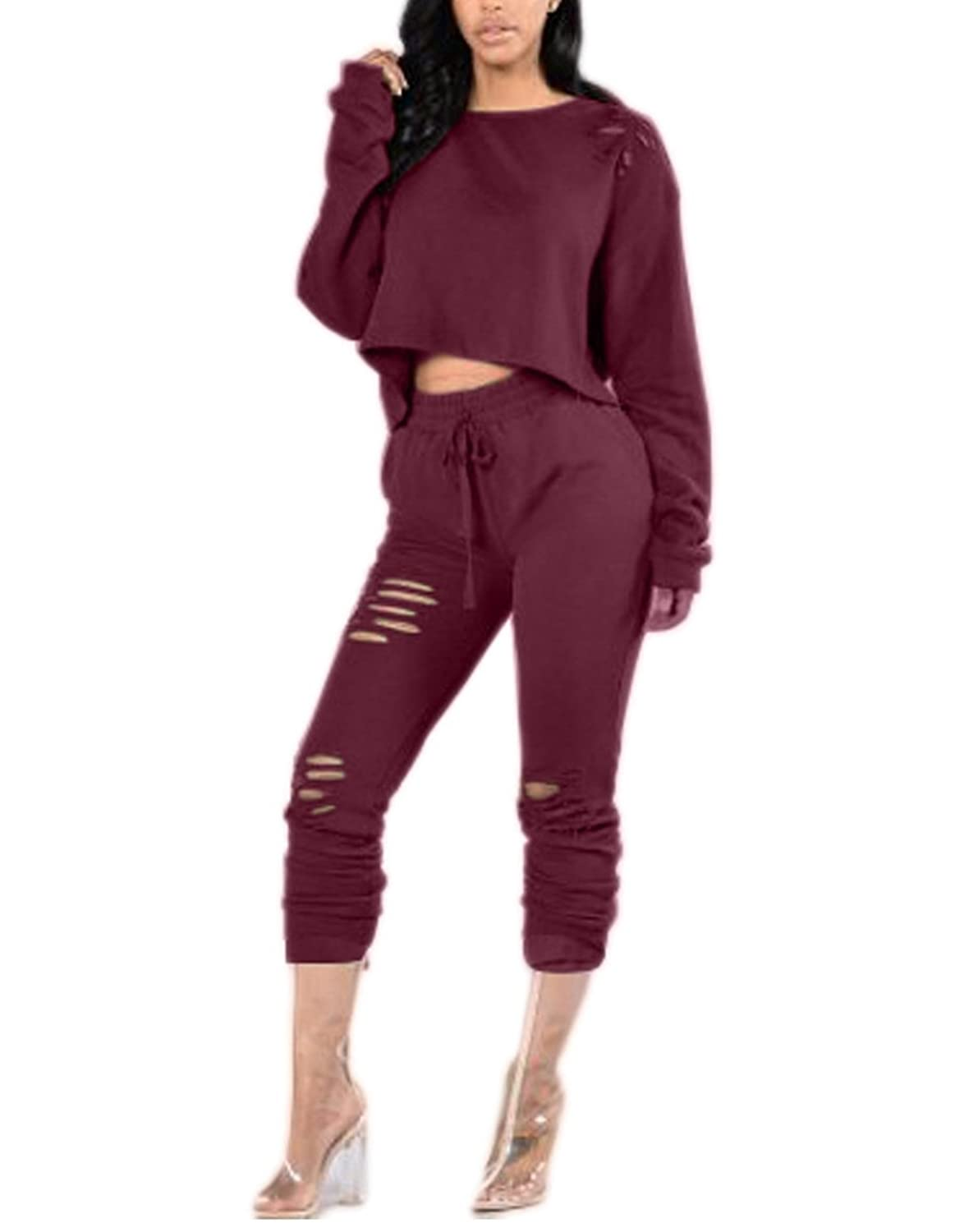 Women Round Neck Long Sleeve Hollow Out Casual Crop Top Long Pant 2 Pieces Set
