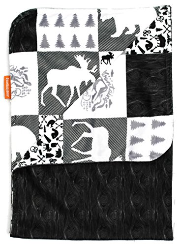 (Dear Baby Gear Deluxe Baby Blankets, Minky Print Reversible Mountains, Moose, Bear, Woodgrain Faux Quilt, 38 by 29 Inches )