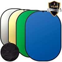 Abeststudio 150x200cm Photography Chromakey Backdrop Background Green & Blue YouTube Screen, 100% Cotton, Muslin Fabric + 2-in-1 Oval Gold & Silver Reflector, Portable Pop Up Foldable Folding Chroma Key Collapsible Backdrop Kit