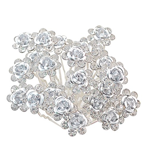 Rbenxia 20 Pcs Bridal Wedding Rhinstone Hair Pins 2.4 Inches Bridal Prom Clips Rose U-shaped Hair Pins for Women and Girls, White