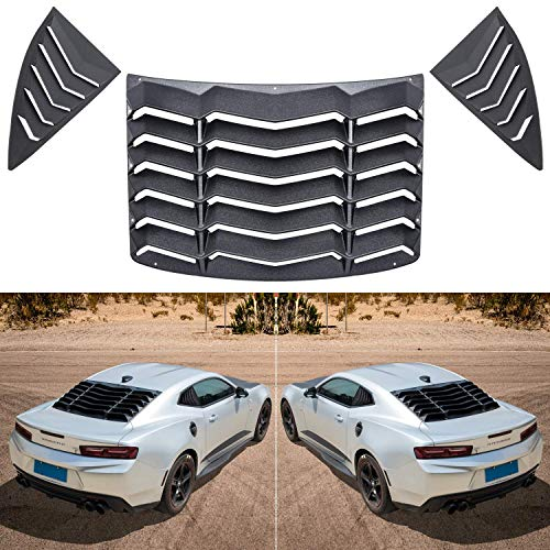 E-cowlboy Matte Black Rear and Side Window Louvers Sun Shade Cover in GT Lambo Style for Chevy Chevrolet Camaro 2010-2015