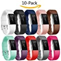Vancle Fitbit Charge 2 Bands, Replacement Bands for Fitbit Charge 2 HR Sport Wristbands Small Large (10-Pack, Large)