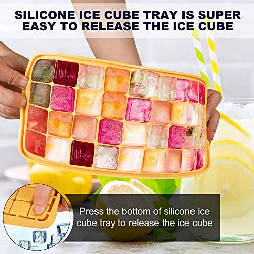 Eiswürfelform Silikon mit Deckel Eiswürfel form, Einfache Freigabe 36 Eiswürfelbehälter mit nicht verschüttetem Deckel BPA frei für Wasser, Whisky, Obst, Trinken, Spülmaschinenfest, Ice Cube Tray