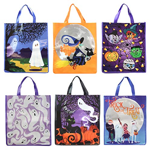"""12 Halloween Large Treat Goody Tote Bags 17"""" x 15"""" For Halloween Trick or Treat Candy Bags, Gift Goodie Bags, School Classroom Giveaway Bags, Party Favor Supplies -"""