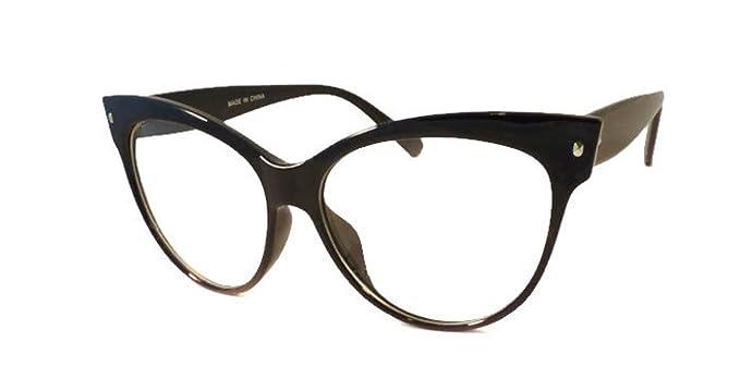 e11b63ef6bb3 CLASSIC VINTAGE 60's CAT EYE Style Clear Lens EYE GLASSES (Black, Clear)