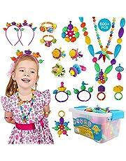 KIDDYCOLOR Pop Kralen Kit voor Meisjes - 600 STKS Kids Sieraden Maken Kit Snap Kralen Craft Kits DIY Armbanden Ketting Haarband en Ringen Creativiteit Speelgoed Geschenken voor Meisjes Leeftijd 4 5 6 7 8 9 10 Jaar Oud