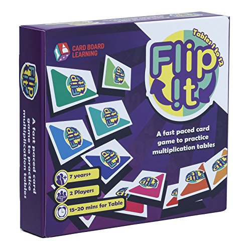 FLIP IT Multiplication Card Game – Fast Paced Card Game to Practice Multiplication Tables 1 to 12 STEM gift for boys and girls ages 7 and above by Card Board Learning