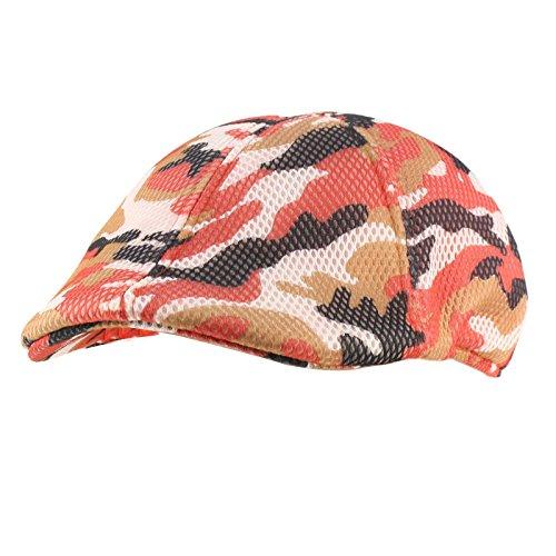 Ivy Driver - SK Hat shop Mens Summer Mesh Camo duckbill Flat Golf IVY Driver Cabbie Sun Cap Hat M/L Red