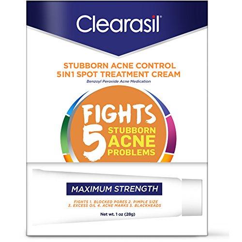 Clearasil Cream Acne - Clearasil Stubborn Acne Control 5in1 Spot Treatment Cream, 1 oz (Pack of 2)