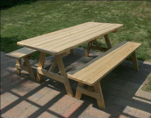 (Fifthroom Picnic Table Traditional Style with 2 Wooden Benches, 5' Treated Pine Wood, Outdoor Dining Set)