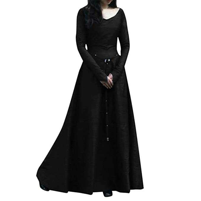 47dd5e196d Medieval Costume, Women Plus Size Solid Vintage Renaissance Flared Long  Sleeve Belted Cosplay Fancy Party
