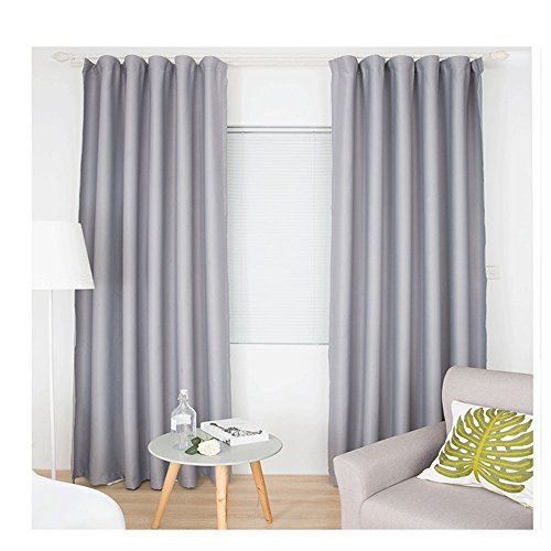 Abreeze Room Darkening Curtains Blackout Curtains Window Treatment Curtains Panel for Bedroom (1 Panel 51 Wide x 70 inch Long, Light Gray) (70 Inch Window Curtains)
