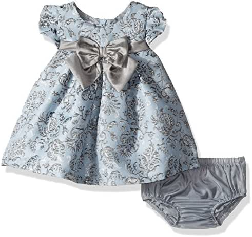 Bonnie Baby Baby Girls Short Sleeve Jacquard Party Dress