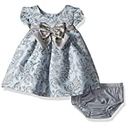 Bonnie Baby Baby Girls Short Sleeve Jacquard Party Dress, Blue, 3-6 Months
