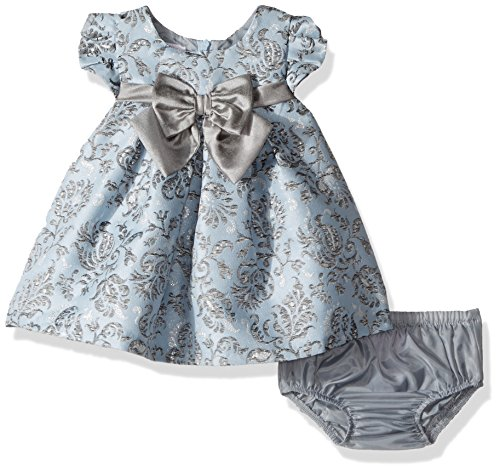 Bonnie Baby Baby Girls Short Sleeve Jacquard Party Dress, Blue, 0-3 Months