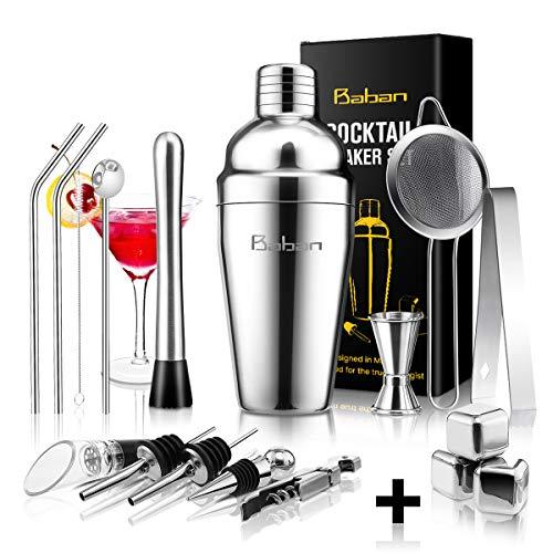 (Cocktail Shaker Set,Bartender Kit, Baban 17 Pcs Stainless Steel Bar Tool Sets with 18oz Cocktail Shaker,Whiskey Stones,Fine Mesh Sieve Strainer,Straws, Professional Bar Tool Sets with Cocktail Book)