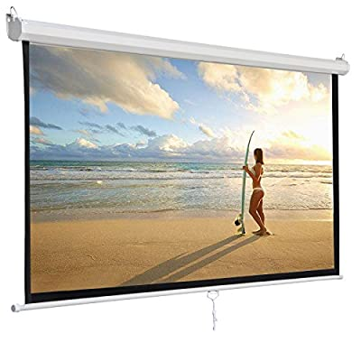 "F2C 119"" Diagonal 84""X 84"" Office Video Projector Projection Screen 1:1 Projection HD Display 160° Viewing Range Portable Manual Pull Down Screen Home Movie Theater Presentation Indoor Outdoor"