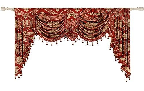 Treatments Window Swags (Queen's House Curtain Valance Burgundy Jacquard Swag Waterfall Valance Luxury Curtain Valance Living Room 59