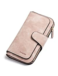 RFID Blocking Mattee Leather Wallet for Women Clutch Purse Bifold Long Designer Ladies Checkbook Multi Credit Card Holder Organizer with Coin Zipper Pocket